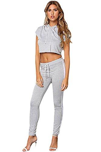 Grigio doppio a righe con cappuccio crop top Jogger Pant set Clubwear pantaloni tuta abbigliamento taglia M UK 8-10
