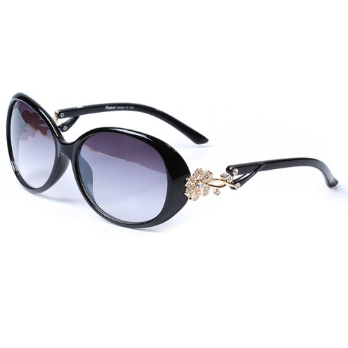 LianSan Oval Fashion Damen Gold Blume Marke Designed Lady Sonnenbrille GD103 (schwarz) (Schwarze Blume Sonnenbrille)