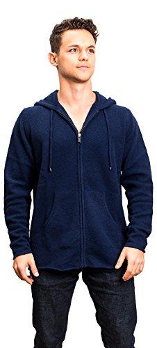 Hoodie Herren - Aus Yak-Wolle - von Citizen Cashmere (Medium, Dunkelblau) (Cashmere-zip-kapuzen-pullover)