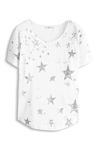 edc by ESPRIT Damen T-Shirt 996cc1k902 - mit Print Weiß (White 100)