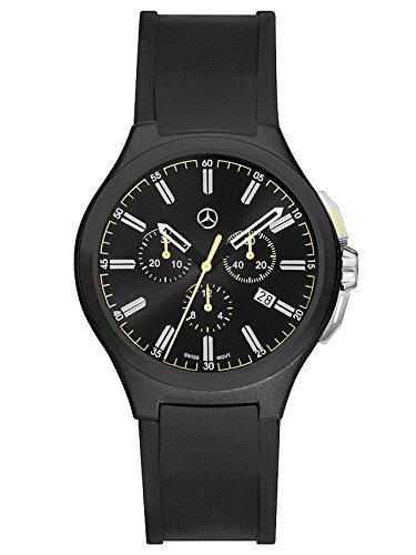 Mercedes-Benz, Chronograph Herren, Mercedes-Benz, Sport Fashion schwarz / gelb, Edelstahl / Silikon