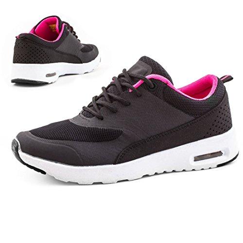 Trendige Unisex Damen Laufschuhe Schnür Sneaker Sport Fitness Turnschuhe Schwarz/Pink