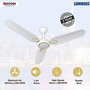 (Renewed) Luminous Dhoom 1200Mm 70-Watt High Speed Ceiling Fan (White)