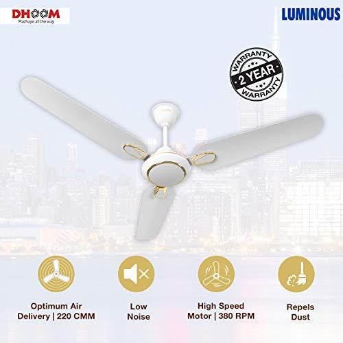 Luminous Dhoom 1200mm 70-Watt High Speed Ceiling Fan (White)