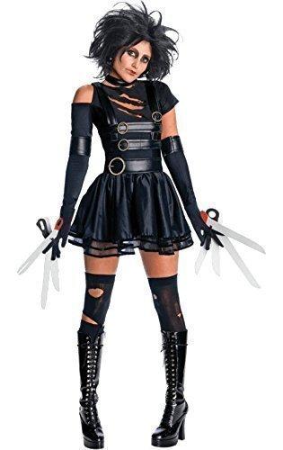 amen offiziell lizenziert SeXy Miss Scherenhände & Perücke 1990s Film Halloween Kostüm Kleid Outfit UK 6-18 - Schwarz, Schwarz, 8-10 (1990 Halloween-filme)