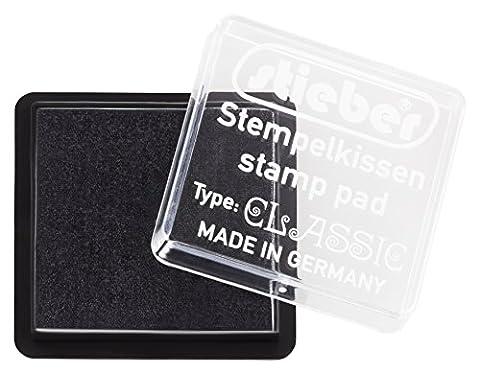 stieber® Mini-Stempelkissen mit Schnappdeckel, Gehäuse ca. 41x41 mm, Fasermaß ca. 34x34 mm *Bitte Farbe auswählen* (SCHWARZ)