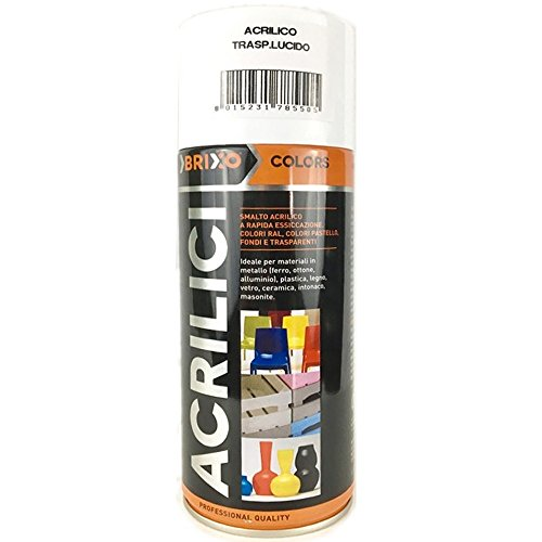 Bomboletta Spray Trasparente Lucido 400ml Vernice Rapida Essiccazzione Acrilica Multimateriale Interno/Esterno Brixo