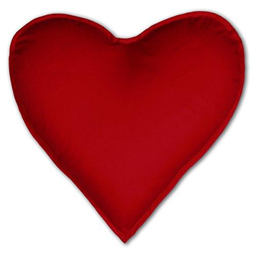 Verve Fun Shirt Herzkissen mit Innenkissen – Kissen in Herzform – Bezug 100% Baumwolle Geschenk Liebesbeweis – ca. 40x40cm – in rot :