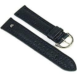 Maurice Lacroix Replacement Band Watch Band Leather Tiago dark blue 21724S, width:14mm