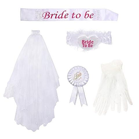 Wartoon Voile de Mariée Blanc avec Peigne et Bride To Be Ceinture Jarretière Rosette Gants pour Douche Nuptiale Hen Accessoires de Soirée, 5 Pièces,