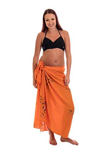Edel Sarong Pareo Wickelrock Strandtuch Handtuch Handarbeit Orange Blume