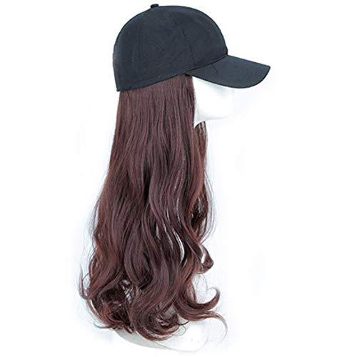 Zaoyun Perücke Mit Hut Frauen Damen Haar Lockige Lang Wig Für Karneval Fasching Cosplay Party Kostüm Blond Weiblich (Dunkel braun) (Kostüm Dunkle Haare)