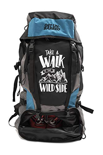 Mufubu Presents Get Unbarred 55 LTR Rucksack for Trekking, Hiking with Shoe...