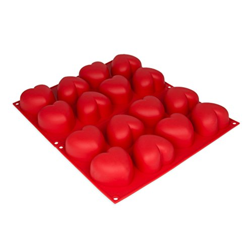 2er SET Silikonform mit 2x8 großen Herzen, Seife, Kerze, Backform für Muffins, Brownies, Party-Eiswürfel, Bowle, Valentinstag, Liebe, Romantik, Kuchen, Pudding, Schokolade, Geschenkidee, Farbe: Rot