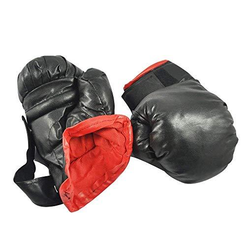 Sonline Guantes Boxeo Negro Esponja Acolchada Cuero