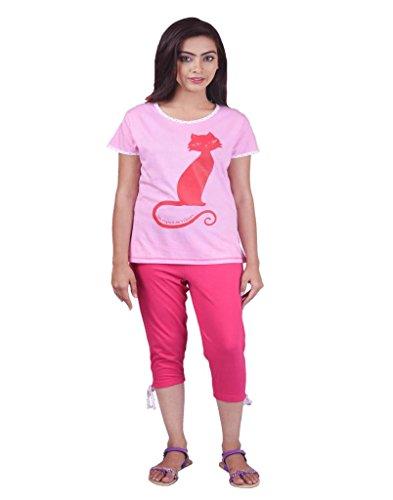 Limeberry Nightwear Set with Capri Pant & T-Shirt- Combo-2-S