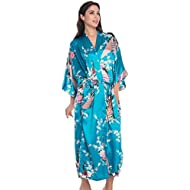 770474797b CHENGYANG Women s Kimono Robes Peacock and Blossoms Satin Nightwear Long  Dressing Gown