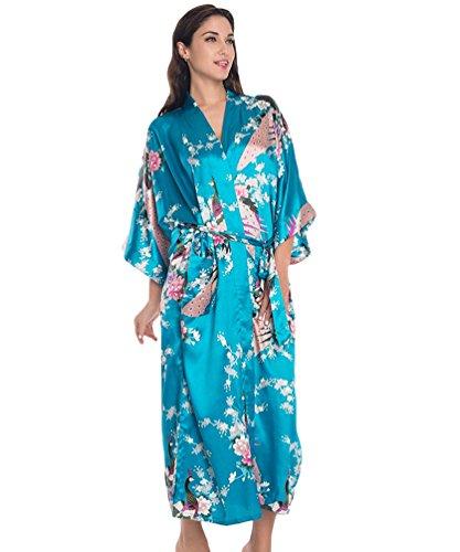 CHENGYANG Donna Pigiama Kimono Vestaglie Stile Lungo Pavone e Fiore Stampa Raso Accappatoio Blu