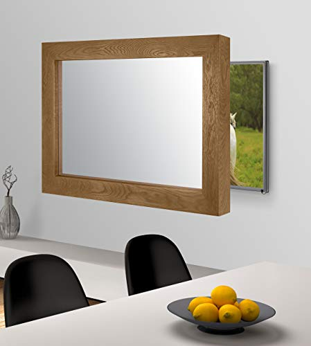 Handmade Framed Mirror to Turn Your Existing TV to Hidden Mirrored Television that Blends into Your Home or Business Decor (32 Inch, Flatenium Brown)