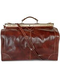PIKÉ Leder Reisetasche LOMBARDIA echt Leder Größe M: ca 29 l / Größe L: ca 40 l Herren Bodennägel, Schultergurt abnehmbar, Schultergurt verstellbar, Innentasche(n)