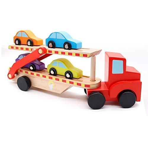 t Holzeisenbahn Autoreisezug mit Vier Fahrzeuge um die kleinen Autos zu transportieren Kinderspielzeug Lokomotive Spielzeug Sammlung für Kinder, Jungen und Mädchen ()