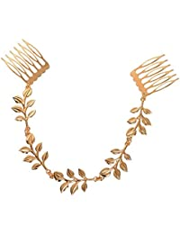 Young & Forever Wardrobe Refresh Fashion Sale Special Golden Tassel Leaf Chain Hair Comb for Women (HA90144)