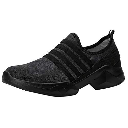 Unisex Sport-Schuhe/Dorical Damen Herren Mesh Slip On Low-Cut Sneakers Walking Outdoor Gym Bequem Leichte Atmungsaktiv Freizeitschuhe Rutschfest Net Schuh Turnschuhe (Schwarz,42 ()