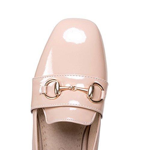 VogueZone009 Donna Puro Pelle di Maiale Tacco Basso Punta Tonda Tirare Ballet-Flats Rosa