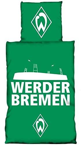 Werder Bremen Bettwäsche 135x200 cm Glow in The Dark grün weiß Baumwolle