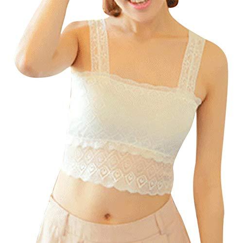 Womens Camisole Crop Top, ärmellose einfarbige Weste Tanks Bustier BH Bralette Strap T-Shirt (Weiß) -