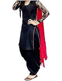 Vastra Villa Women'S Free Size Patialas Salwar Suit Set (Black_Kudi_Black_Free Size)