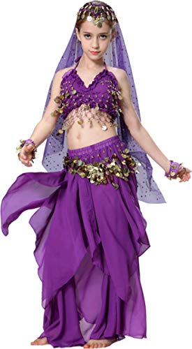 Bauchtanz Kostüm Kinder Mädchen Faschingskostüm Indische Kleider Rock Oberteil Violett 110 116 122