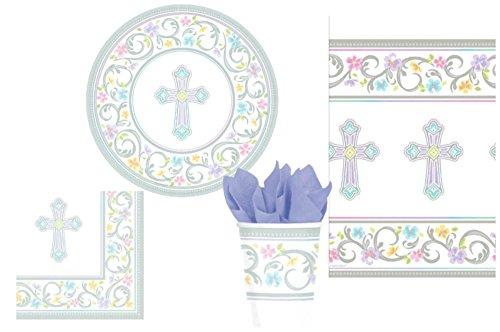 (TLP Party gesegneten Tag Inspirierend Kreuz-Party versorgungs Pack für 18 Gäste: Bundle enthält Abendessen Teller Luncheon servietten Tassen und tischdecke Mehrfarbiges)