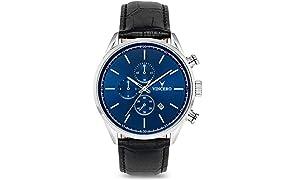 Vincero Luxus Chrono S Herren Armbanduhr - Blaues Zifferblatt mit schwarzem Lederarmband - 43mm Chronograph Uhr - Japanisches Quarz Uhrwerk
