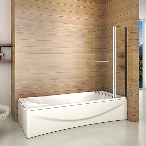 41cm1MgxZjL - Bañera 2 piezas Mampara pantalla de ducha plegable vuelta 180 ° 100x140cm