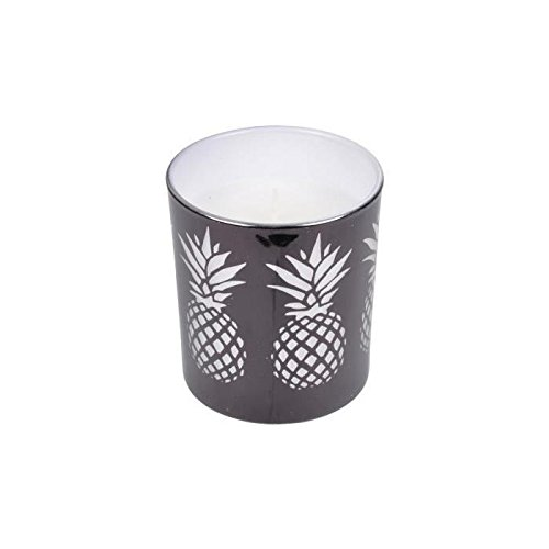 Bougie verrine ananas – 7 x 8 cm – noir – ambré