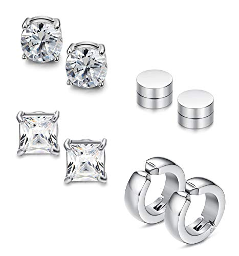 Sailimue 4 Paare Set Edelstahl CZ Ohrringe Magnet Ohrstecker für Herren Damen Ohrringe Tunnel Ohrstecker Nicht Piercing Clip Tunnel Hoop Ohrringe