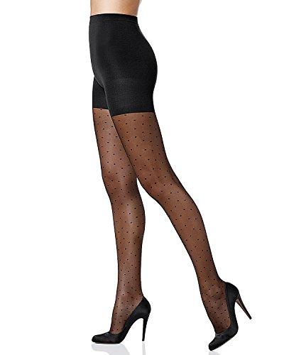 SPANX `Sheer Fashion` Swiss Dots Sheers (397) Fein-Strumpfhose mit formender Panty und Punkten – Schwarz (Black) - (A (34/36)) (Cotton Strumpfhose Spanx)