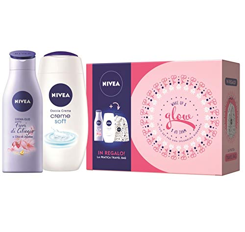Nivea glow kit set regalo donna con crema olio corpo fiori di ciliegio 200 ml, doccia crema creme soft 250 ml e travel bag