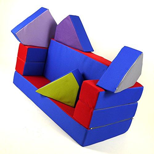 Spielsofa 4in1 Kindersofa Spielmatraze für das Kinderzimmer Spielpolster Softsofa blau/rot Puzzle Kinderzimmersofa Spieltisch Kindermöbel - 3