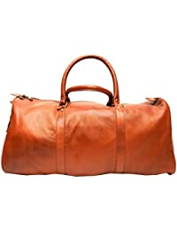 Poshaque Pure Leather Duffle Bag - Small (Tan)