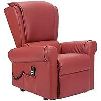 Sillon-Relax - Sillòn de relajamiento con Sistema Levanta Personas reclinaciòn del Respaldo y del reposapiés Sillòn Importante y de decoraciòn - Sillon Sorrento 2A-NC-ES - Piel Roja