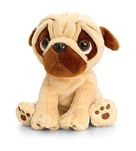 Keel Toys KEELTOYS-Peluche Animotsu Pugsley Carlin 20 cm-SD0590, Beige, Marrón