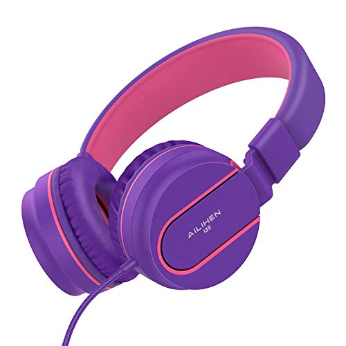 Kopfhörer, AILIHEN I35 Kopfhörer mit Mikrofon Faltbarer On-Ear kopfhoerer für iPhone iPad iPod Android Smartphones PC Laptop Mac Mp3/mp4 (Lila/Pink) (Ipod-wasser)