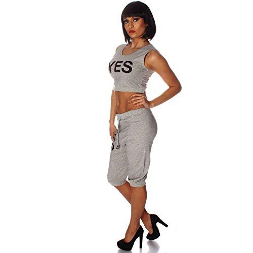 Fashion4Young - Débardeur - Taille empire - Femme noir Schwarz L/XL=40/42 Gris