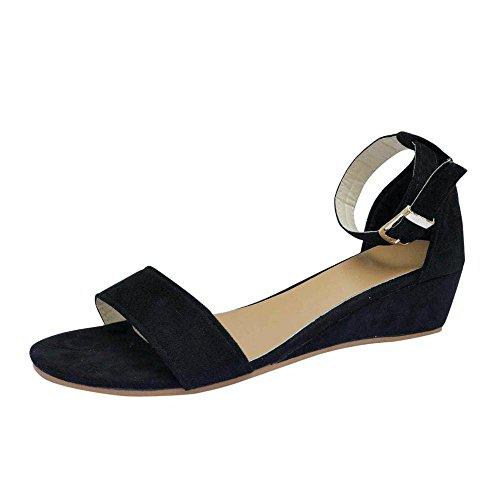 Ankle Strap Schnalle Sandale (MEIbax Frauen Damen Sommer Roman Schuhe Schnallen Wedges Ankle Strap Sandalen Sandalen Mode Schnalle Wildleder Plateau Schuhe (Schwarz, 34))