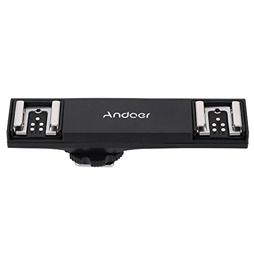 Andoer Dual-Blitzschuh Flash Light Speedlite Bracket Splitter für Canon 7DII 70D 5DR 5DRS 5DIII 6D DSLR Kamera Camcorder (Flash-bracket Dual)