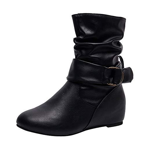 Mittlere Stiefel Flache Schuhe Schwarz,Wildleder Oliviavan Elegant Innere hohe Stiefel Herbst und Winter Schneestiefel Schlupfstiefel