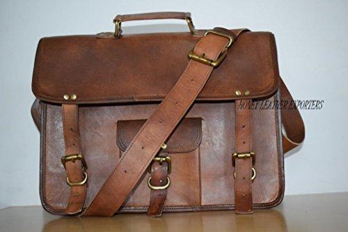 Handgefertigte Leder (Handgefertigte Leder-Kultur-Herrentasche - die braune Vintage-Tasche aus Echtleder hat einen langen Schulterriemen - ideal für Laptop und Unterlagen)