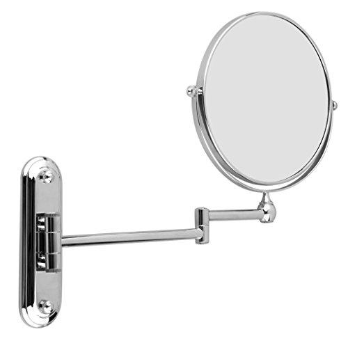 Floureon 8 Pouces Miroir Mural Grossissant 10 Fois Extension Pliant - Double Face Normale et Grossissant x10 - 360 Degrés Rotation